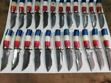 Lot of 50 Damascus Steel Custom Handmade 9'' Texas Flag Handle Hunting Knives