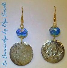 Orecchini artigianali con monete, martellate a mano, e cristalli - coin earrings