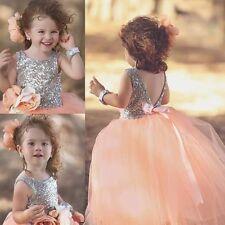 2016 New Style Ball Tulle Sequin Lovely Wedding Flower Girl's Dresses Baby Gowns