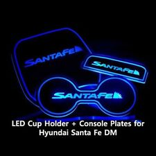 Morris Club Blue LED Cup Holder + Console Plates for Hyundai Santa Fe DM