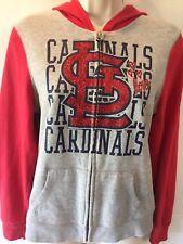 5TH & OCEAN Girl's St. Louis Cardinals Sparkle Zip Front Hoodie Jacket 14 MINT