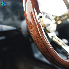 "VIILANTE 2"" DISH 6-HOLE STEERING WHEEL *WALNUT WOOD GRAIN* GOLD CHROME FITS NRG"