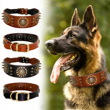 "Spiked Studded Dog Collar Genuine Leather 2"" Wide Adjustable Rottweiler Pitbull"