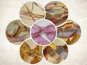 Berisfords Metallic Glitter Sparkly Lame Ribbon:Rose Gold, Gold, Silver, Copper