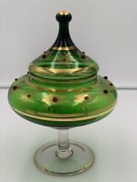 "Antique Moser Green Glass Painted Vase w/ accent Red stones. 12""X 9"" Circa 1900"