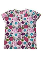 Womens Fashion Medical Nursing Scrub Tops Printed Flower Butterflies 2XL