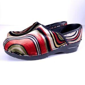 Sanita Women's Velvet Swirl Retro Multi-Colored Clogs Shoes Size 39