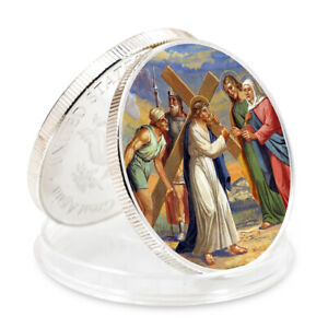 Holiday Gifts Jesus Commemorative Colorful Coin 999.9 Silver Metal Crafts