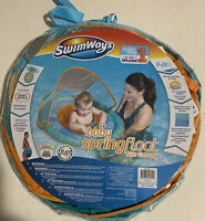 Swimways Baby Spring Float With Removable Canopy: Blue and Orange - Free Ship