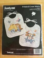 Janlynn Sleepy Bunnies Bibs Printed Cross Stitch Kit Prequilted Set of 2 Stamped