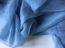 "NEW French 100% Silk Sky Grey Crinkle Chiffon Fabric 55""139cm Dress Scarf Coco 7"