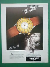 10/1985 PUB MONTRE SWISS WATCH LONGINES LINDBERGH / NIKE AIR STAB FRENCH AD