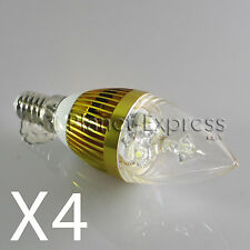 4 x Bombilla 3W LED E14 Vela Blanco Calido Color Oro 220V 240 lumen equiv.25W