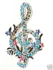 CLEF MUSIC NOTE-SILVER SEQUIN w.FLOWERS-Iron On Embroidered Applique/Music Notes