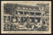 Postcard BERTHIERVILLE Quebec/CANADA  Hotel Le Manoir Grill Club view 1930's