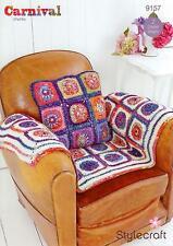 Stylecraft Crochet Pattern Aran Square Throw and Chunky Cushion 9157