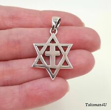 925 Sterling Silver MESSIANIC Pendant Necklace Star Of David With Cross 1.2 inch