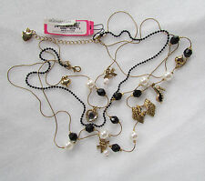 Betsey Johnson Necklace Paris Dress High Heel Hearts Charms NEW