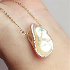 15-18MM Multi-Color Freshwater Petal Baroque Pearl Pendant Necklace handmade