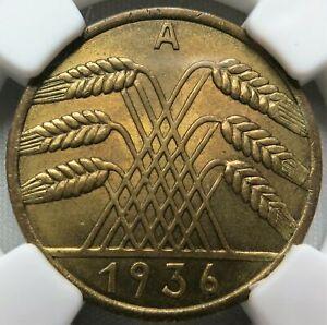 GERMANY 3rd Reich 10 Reichspfennig 1936 A Berlin NGC MS 64 UNC