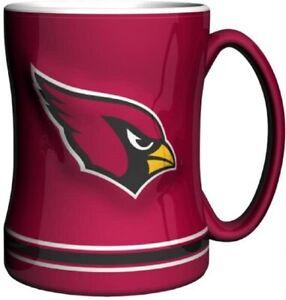 Arizona Cardinals 14 oz Team Color Sculpted Logo Relief Coffee Mug  - NEW