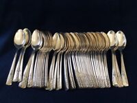 CAMELIA Silverplate International Silver Floral Teaspoons •1940s •Lot of 50 •EUC