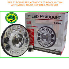 """PAIR 7"""" ROUND REPLACEMENT LED HEADLIGHT H4 WHITEVISION TRUCK JEEP LITE LANDROVER"""