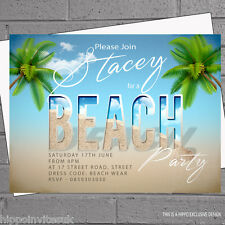 12 x Adult Kids Beach Birthday Party Invitations Beachwear Hawaiian | H0323