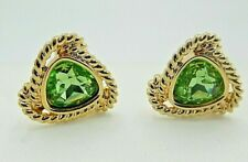 Signed Swarovski Earrings Light Green Crystal Gold Plated Clip On
