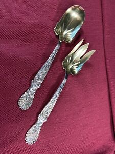 Tiffany & Co. - Pair of Antique Sterling Silver Servers in Dolphin Pattern