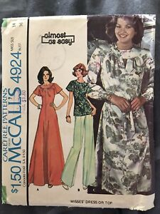 Uncut 1970s Smock Dress Top Tunic Maxi McCalls 4924 Sewing Pattern