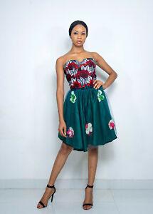 Pepperfruit Women's African Print Strapless Summer Sexy Mini Tube Boob Dress