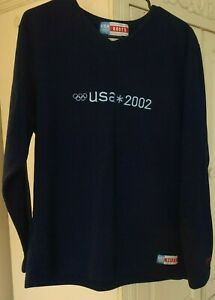 Roots 2002 U.S. Olympic Team Official Blue Fleece Long Sleeve Sweater - Large