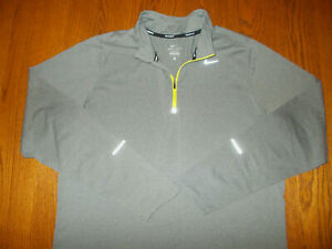 NIKE ELEMENT 1/4 ZIP LONG SLEEVE GRAY REFLECTIVE RUNNING TOP MENS LARGE EXCELL.