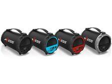 "Axess SPBT1037 4"" 2.1-Ch HiFi Cylinder Speaker +Bluetooth +USB/SD +Rechargeable"