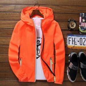 Men's Waterproof Wind Breaker Jacket Hoodie Light Sports Outwear Thin Coat Gym
