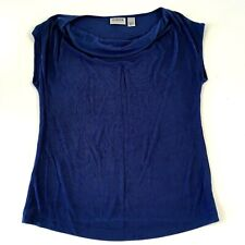 Chicos Travelers Cap Sleeve Shirt Top Womens Size 1/S Blue Drape Neck Acetate