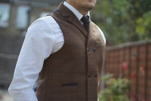 Milano Men Double Breast Tweed Waistcoat Notched Lapel  Vintage Collared Check S