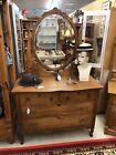 Antique Oak Dresser serpentine w ornate mirror