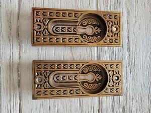 Vintage Antique Brass/Bronze Pocket door Keyhole pulls-one pair
