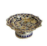 Cobalt Blue Pedestal Scalloped Edge Trinket Dish White Gold 4.25 inch diameter