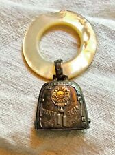 1926 Teething Ring Rattle Vintage Webster Sterling, Mother Of Pearl Ring w/ Chip