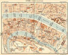 Rhône. lyon. (centre de ville) 1924 anciennes vintage carte plan graphique