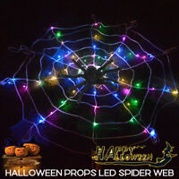 Halloween LED Spider Web Outdoor Horror Party Props Light Cobweb Spooky Decor Q