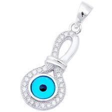 "Cz Blue Evil Eye .925 Sterling Silver Pendant 1.15"" long"
