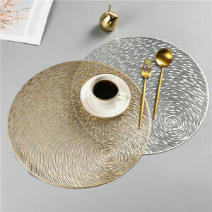 PVC Gold Silver Round Hollow Place Mat Coasters Dining Table Insulation Placemat