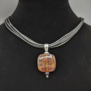 Silpada Sterling Silver Baltic Amber 925 Pendant Black Leather Necklace Retired