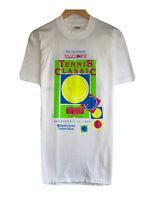 Vintage Stedman 1989 Tennis Class Men's Sz Large Single Stitch White T-Shirt USA
