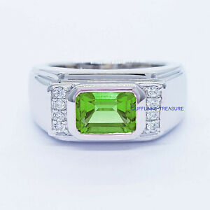 Natural Peridot & CZ Gemstones with 925 Sterling Silver Ring for Men's