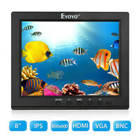"Portable 8"" LCD IPS Video Audio HDMI Monitor Display BNC for CCTV DVD FPV DVR PC"